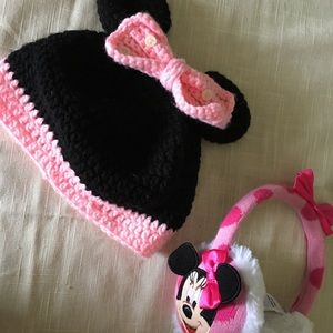 Minnie Mouse Crocheted Hat and Ear Muffs